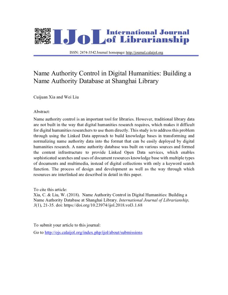 thumbnail of Name-Authority-Control-in-Digital-Humanities-Building-a-Name-Authority-Database-of-Shanghai-Library